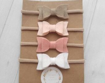 Set of 4 Mini Chunky Wool Felt  Bow Headbands- Blush Pink, Latte, White, Wheat- Nylon Headbands-Baby Shower Gift-Baby Headband Starter Pack