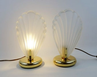 2 Vintage Scallop Shell Bedside Lamps from AF Cinquanta Italy