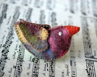 Pastel colors Felt Love Bird Toy --Handmade Felt UNIQUE pure wool felted bird