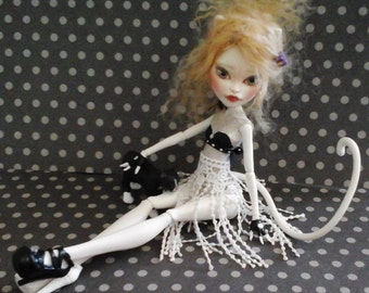 OOAK Artists B&W 'NAUGHTY KITTY' Monster High Repaint- re-wig'd, Re-costumed, w/Pet