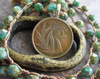 Coin crochet necklace - Priceless - earthy green crocheted genuine coin leaves boho by slashKnots