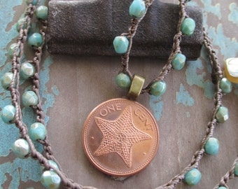 Starfish coin crochet necklace - Priceless - rustic turquoise green copper crocheted genuine coin surfer beach boho by slashKnots