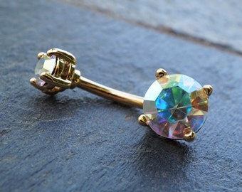 14kt Gold Belly Button Ring Aurora Borealis Sparkle Gem Prong Set