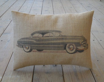 1950 Buick Burlap,  Pillow Vintage Car, INSERT INCLUDED