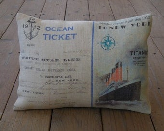 Titanic Ticket Burlap Pillow, Titanic 1912, INSERT INCLUDED