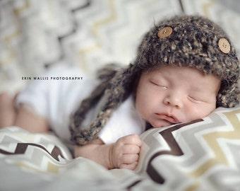 Newborn Crochet Hat Pattern: 'Trapper Jack Cap' Crochet Aviator Hat, 0-3mo, Newborn Photography Prop