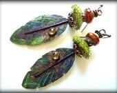 RESERVED Elegant, Rustic, Feather, Peridot, Artisan Copper Headpins, Green Earrings, Artisan Lampwork Earrings, Beaded Earrings, Earthy