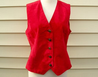 Woman's Italian Red Suede Leather Vest, Effeci Creazioni, sz M, vintage unused