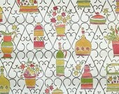 Vintage Wallpaper by the Yard 70s Retro Wallpaper - 1970s Kitchen Vases and Flowers in Pink and Green with Wrought Iron Design on White