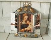 Folk art prayer shrine Mexican tin frame mirror Madonna Child embellished