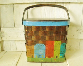 Vintage purse basket woven wood painted shops Caro-Nan 1970s