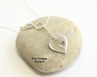 Sterling Silver Mother's Infinity Cut Out Heart Necklace