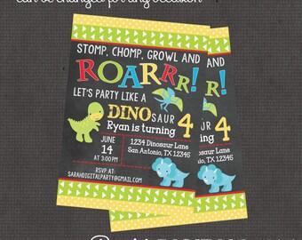 Roar Dino Invitation 4x6 or 5x7 digital you print your own- Design 230