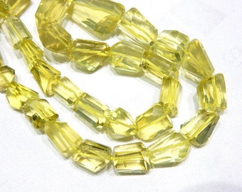"Lemon Quartz Nuggets Faceted Beads Gemstone  Size- 10-17mm Approx 8""AAA High Quality  100% Natural Stone"