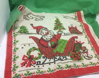Vintage Christmas tea towel linen, Santa Claus in sleigh CH 3