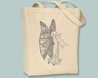 Sweet Vintage Fairy with Gossamer Wings Illustration Canvas Tote -- Selection of  sizes available