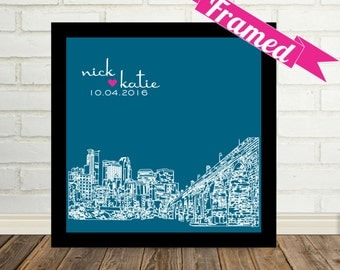 Minneapolis Skyline Minneapolis Art Wedding Gift Art Personalized FRAMED ART Any City Available Unique Engagement Gift for Couple