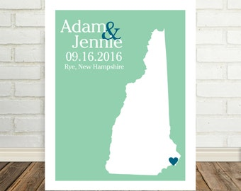 New Hampshire Wedding Gift Personalized New Hampshire Map New Hampshire Poster New Hampshire Print Custom Wedding Gift Holiday Gift for Him