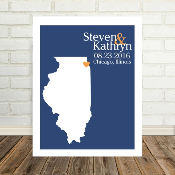 Illinois Map Art Wedding Gifts Personalized Illinois Print Illinois Poster State Map Art State Map Print Valentines Day Gift for Him