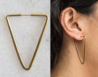 Handmade hammered brass triangle earrings