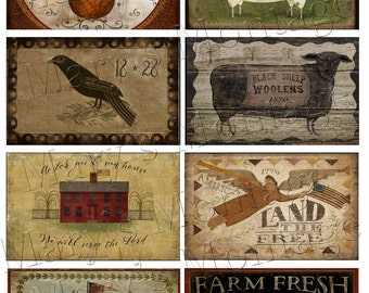 Primitive Labels 2,  Download & Print , sheet of 8