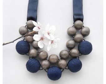 Wooden Necklace / Grey Wood Blue Fabric Beads with Ribbon Ties / Wood Necklace / Bib Necklace / Wooden Bead Necklace / Large Bead Necklace