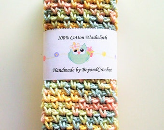 Baby Washcloths - Spa Washcloths - Cotton Dishcloths - Baby Pastel   - Set of 2 in Pastel Yellow, Pink, Blue, and Green