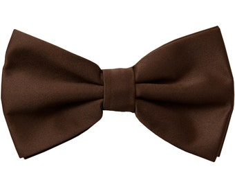 Men's Solid Brown Pre-Tied Bowtie, for Formal Occasions