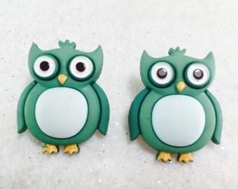 Owl Earrings, Bird Earrings, Owl Stud Earrings, Owl Jewelry, Green Earrings, Girls Earring, Button Earrings