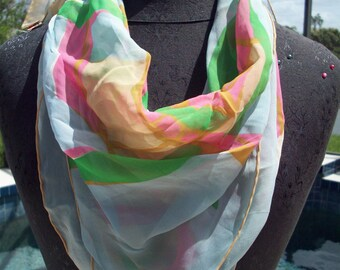 Pastel Colored Sally Gee Silk Scarf