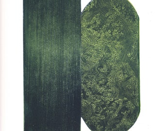 "Art Print. Etching . Forest Green Home Decor: ""BROCADE  "". Print Size 12"" x 14"". unframed"
