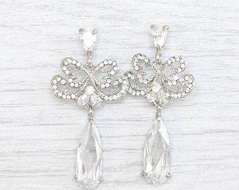 Crystal Teardrop Earrings. Crystal Bridal Jewelry. Crystal Dangle Earrings. Crystal CZ Earrings. Bride earrings. Crystal dangle earrings.