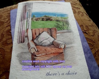 there's a chair dog or cat love/celebration of the journey cards/sentimental cards/unique empathy condolence cards