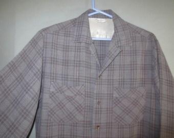 Sale*** Rayon Gabardine Shirt / by Sportsman of California / Brown Plaid ...m