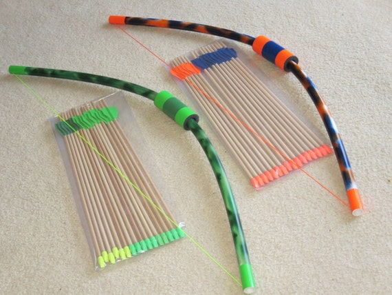 Items similar to large bows 2 pack with 32 wooden eraser for Kids pvc bow