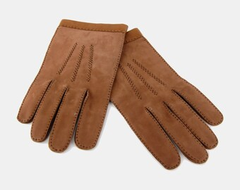 Light BROWN Suede LEATHER Gloves Vtg 70's Au Berger FRANCE Warm Winter Soft Minimalist Exposed Stitching Slip On City Classy - Extra Large