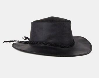 BLACK Genuine Leather RANCHER Hat Vtg 70's Wide Brim Braid Country WESTERN Cowboy Boho Hippie Festival Silver Stud Rocker Distress - Large