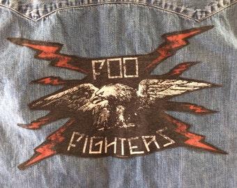 Sale ! Sleeveless denim shirt with FOO FIGHTERS patch hand made from tour t-shirt OOAK Biker Rock