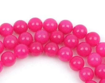 10mm FUCHSIA PINK Round Jade Gemstone Beads, full strand, about 39 beads gjd0142