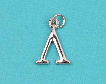 """4 LAMBDA Letter Silver Plated Charms, Greek Letter . Sorority Sister .  Silver Plated Pendant, 3/4"""" tall, includes jump ring, chs2198"""