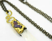 Crystal quartz necklace raw quartz point pendant with rubies, amethyst and gold raw boho crystal necklace