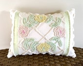 SPRING ROSES 12 X 16 inches, pink roses pillow cover, cottage chic chenille cushion, shabby style throw pillow case, yellow floral pillow