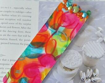 Beaded Bookmark // Watercolor Original Art-Not a Print // Floral Bookmark