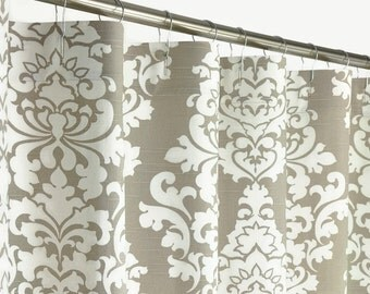 """Taupe Damask Shower Curtain - EXTRA LONG - 72"""" Wide x 72, 78, 84, 90, 96 Long - Traditional"""