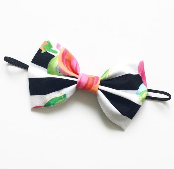 NEW Floral Stripes Large Bow Tie Headband or Clip - XLarge Bow Tie Headband - Spring Summer girl, baby, toddler, woman prints