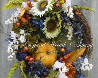 Fall Wreath, Autumn Wreath, Pumpkin Wreath, Designer Fall Floral, Thanksgiving, Harvest Wreath, Sunflower Wreath, Elegant Fall Wreath