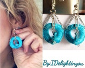 Turquoise Threaded, Stone Earrings-Fashion Jewelry-Wearable Art-Jewelry Gift