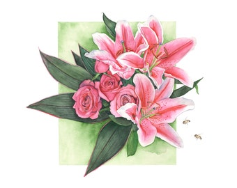 Roses and Lilies watercolour painting - print A4 size medium print - RL1116 - Botanical painting - Pink Lilies watercolor painting
