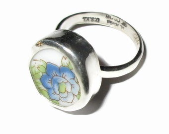 Broken China Ring, Sterling Silver, Blue Flower, Any Size, OOAK, China Shard, Pottery, Chaney, Spring