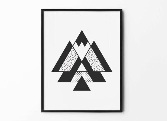 Abstract Geometric Print Triangle Wall Art Pattern Print